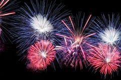 Fogos-de-artifício azuis, brancos e cor-de-rosa surpreendentes Imagem de Stock