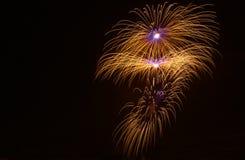 Fogos-de-artifício azuis coloridos fundo, fogos-de-artifício festival, Dia da Independência, o 4 de julho, liberdade Fotos de Stock