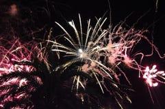 Fogos-de-artifício azuis durante a noite Foto de Stock
