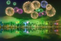 Fogos-de-artifício bonitos em Hong Kong Imagem de Stock Royalty Free