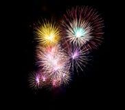 Fogos-de-artifício bonitos para o celebrat em Tailândia Foto de Stock