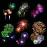 Fogos-de-artifício brilhantemente coloridos Fotografia de Stock Royalty Free