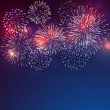 Fogos de artifício brilhantemente coloridos com fumo pálido ilustração stock