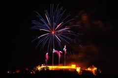 Fogos-de-artifício, Brno, Moravia sul, república checa Imagens de Stock