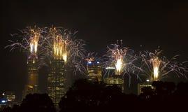Fogos-de-artifício, cidade de Melbourne, Austrália Fotografia de Stock Royalty Free