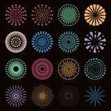 Fogos-de-artifício coloridos ajustados ilustração royalty free