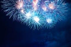 Fogos-de-artifício coloridos azuis Imagens de Stock Royalty Free