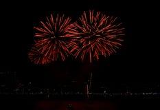 Fogos-de-artifício coloridos bonitos com céu noturno Fotos de Stock Royalty Free