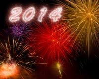 Fogos-de-artifício coloridos bonitos do feriado no céu preto Imagens de Stock