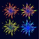 Fogos-de-artifício coloridos brilhantes O fogo de artifício festivo Imagem de Stock