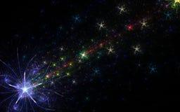 Fogos-de-artifício coloridos com estrela grande ilustração royalty free