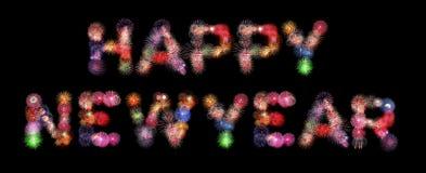 Fogos-de-artifício coloridos do texto do ano novo feliz Imagens de Stock