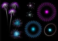 Fogos-de-artifício coloridos - jogo Fotografia de Stock Royalty Free