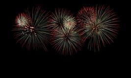 Fogos-de-artifício coloridos no céu escuro Foto de Stock Royalty Free