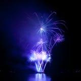Fogos-de-artifício coloridos no céu preto Imagem de Stock Royalty Free