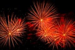 Fogos-de-artifício coloridos no céu preto Imagens de Stock Royalty Free