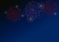Fogos-de-artifício coloridos no fundo escuro-azul Fotografia de Stock