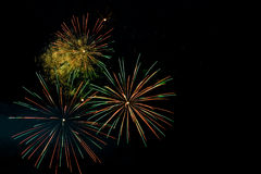 Fogos-de-artifício coloridos no fundo preto do céu Foto de Stock Royalty Free