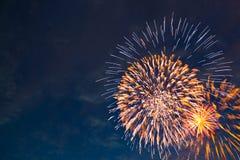 Fogos-de-artifício coloridos no fundo preto do céu Fotos de Stock Royalty Free