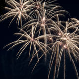 Fogos-de-artifício coloridos sobre o céu escuro Imagens de Stock