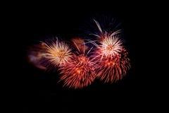 Fogos-de-artifício coloridos sobre o céu escuro, indicado durante um evento da celebração Fotografia de Stock
