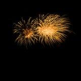 Fogos-de-artifício coloridos sobre o fundo escuro do céu Imagens de Stock