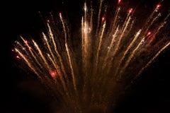 Fogos-de-artifício coloridos surpreendentes em um fundo do céu noturno Fotos de Stock Royalty Free