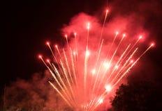 Fogos-de-artifício coloridos surpreendentes em um fundo do céu noturno Foto de Stock Royalty Free