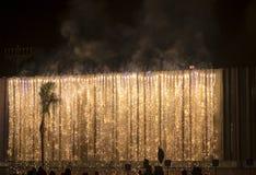 Fogos-de-artifício coloridos surpreendentes em um fundo do céu noturno Imagens de Stock Royalty Free