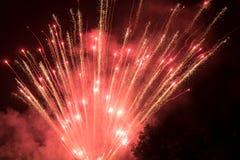 Fogos-de-artifício coloridos surpreendentes em um fundo do céu noturno Fotografia de Stock