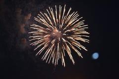 Fogos-de-artifício com a lua no fundo Foto de Stock Royalty Free