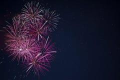 Fogos-de-artifício cor-de-rosa vermelhos marrons da celebração sobre o céu noturno Fotografia de Stock