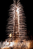 Fogos-de-artifício da inauguração de Burj Khalifa Fotografia de Stock