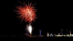 Fogos-de-artifício da praia de Coney Island Fotografia de Stock
