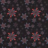 Fogos-de-artifício da tira do círculo e chuveirinhos vermelhos, azuis em um backgro escuro Imagem de Stock Royalty Free