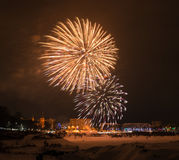 Fogos-de-artifício da véspera de ano novo 2015 Imagem de Stock