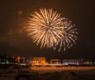 Fogos-de-artifício da véspera de ano novo 2015 Fotos de Stock Royalty Free