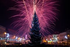 Fogos-de-artifício da véspera de Ano Novo Imagem de Stock