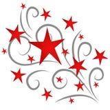 Fogos-de-artifício das estrelas de tiro vermelhos ilustração do vetor
