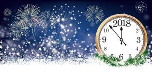 Fogos-de-artifício 2018 das estrelas dos flocos de neve do encabeçamento de Silvester Card Clock Fotografia de Stock Royalty Free