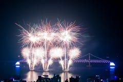 Fogos-de-artifício de Busan Gwangan 2015 Diamond Bridge Fotografia de Stock