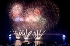 Fogos-de-artifício de Busan Gwangan 2015 Diamond Bridge Foto de Stock