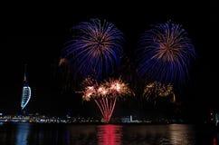 Fogos-de-artifício de Gunwharf, Portsmouth imagem de stock royalty free