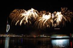 Fogos-de-artifício de Gunwharf, Portsmouth imagens de stock