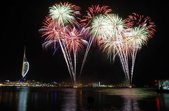 Fogos-de-artifício de Gunwharf, Portsmouth Fotografia de Stock