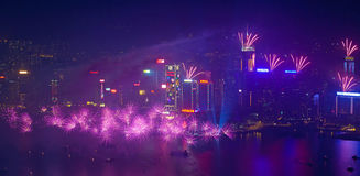 Fogos-de-artifício 2014 de Hong Kong Fotografia de Stock