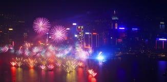 Fogos-de-artifício 2014 de Hong Kong Fotos de Stock Royalty Free
