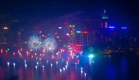 Fogos-de-artifício 2014 de Hong Kong Foto de Stock