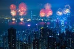Fogos-de-artifício de Hong Kong imagem de stock