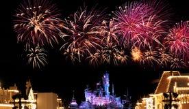 Fogos-de-artifício de Hong Kong Disneylâandia Fotografia de Stock Royalty Free